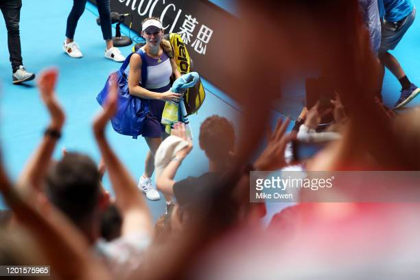Caroline Wozniacki of Denmark walks off court after losing her Women's Singles third round match against Ons Jabeur of Tunisia on day five of the...