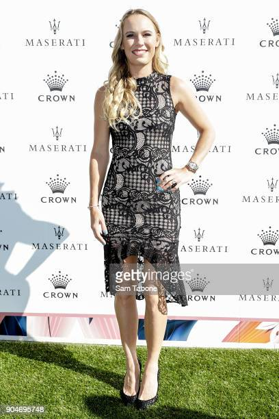 Caroline Wozniaki arrives ahead of the 2018 Crown IMG Tennis Player at Crown Palladium on January 14 2018 in Melbourne Australia
