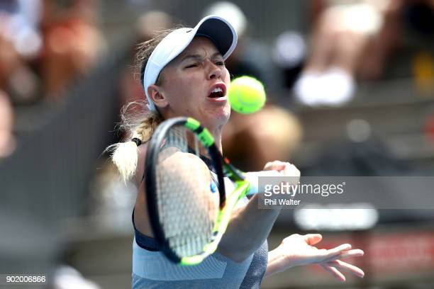 Caroline Wozniaki of Denmark plays a forehand during the Womens Singles Final against Julia Goerges of Germany during day seven of the ASB Women's...