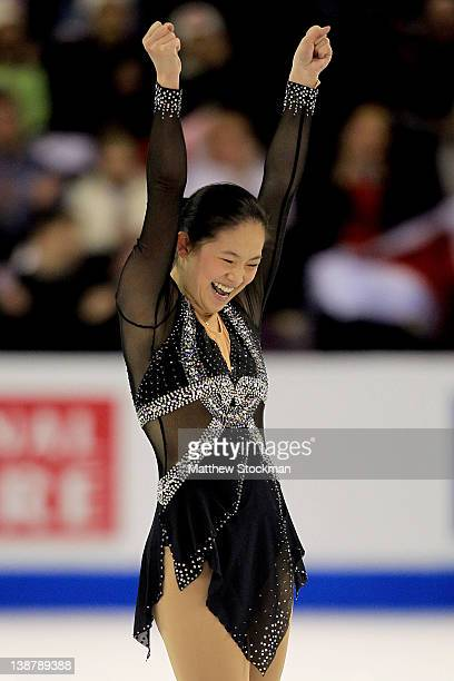 Caroline Zhang celebrates at the end of her routine in the Ladies Free Skate during the ISU Four Continents Figure Skating Championships at World...