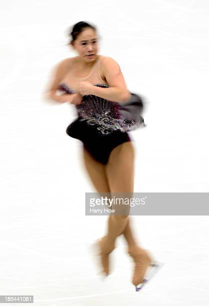 Caroline Zhang competes during the ladies free at Skate America 2013 at the Joe Louis Arena on October 20 2013 in Detroit Michigan