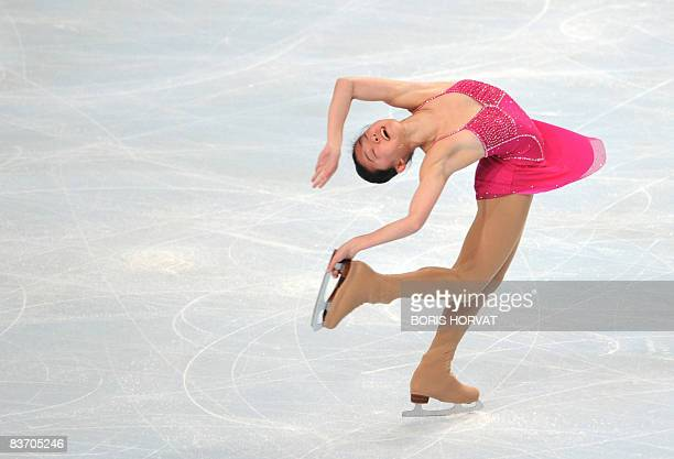 US Caroline Zhang performs during the ladies free skating event of the Eric Bompard Figure Skating trophy on November 15 2008 at the Palais...