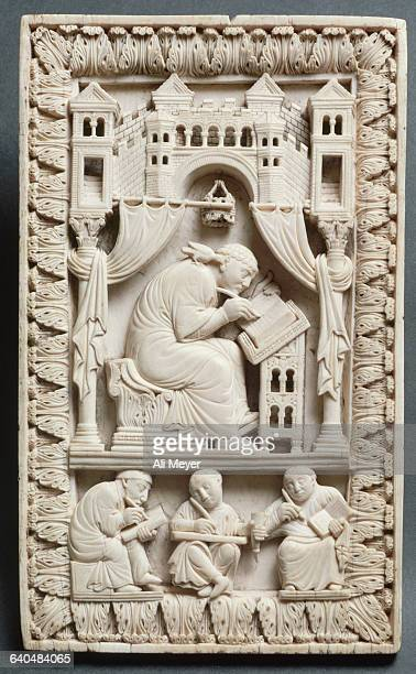 Carolingian Ivory Relief of St Gregory with the Scribes