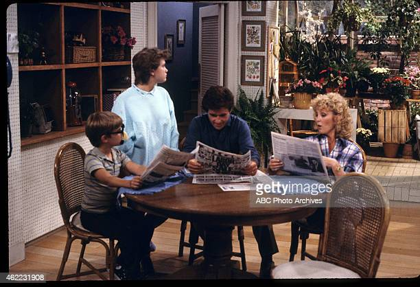 """Carol's Article"""" - Airdate: October 15, 1985. L-R: JEREMY MILLER;TRACEY GOLD;ALAN THICKE;JOANNA KERNS"""