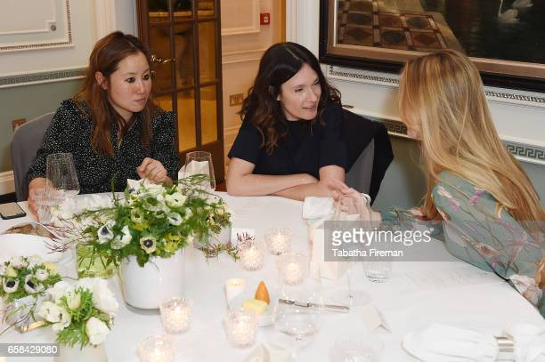 Carolyn Asome Laura Craik and Coralie Rogez attend the Bonpoint Mon Premier Diamant luncheon at The Connaught Hotel on March 27 2017 in London England