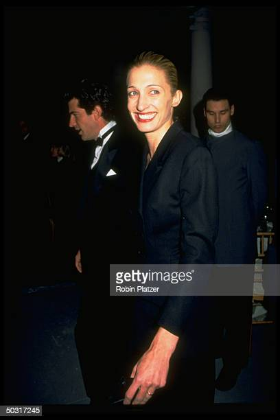 Carolyn Bessette Kennedy with husband publisher John F Kennedy Jr at New York Municipal Art Society Gala