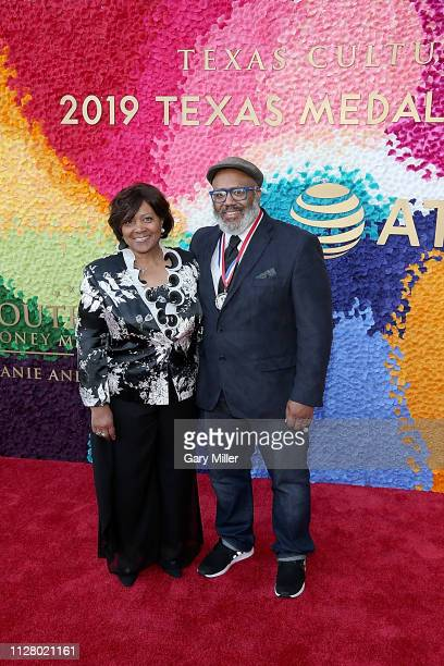 Carolyn Briley and Trenton Doyle Hancock attend the Texas Medal Of Arts Awards at the Long Center for the Performing Arts on February 27 2019 in...
