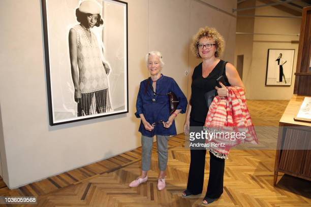Carolyn Christov and Joan Jonas attend Opening Of Theaster Gates' Exhibition 'The Black Image Corporation' At Fondazione Prada Osservatorio on...