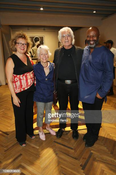 Carolyn Christov Joan Jonas Germano Celant and Theaster Gates attend Opening Of Theaster Gates' Exhibition 'The Black Image Corporation' At...
