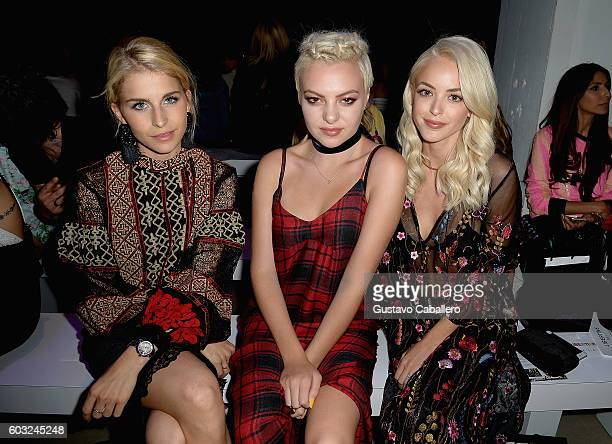 Carolyn Daur Kaya Stewart and Kaitlynn Carter attend the Libertine fashion show at New York Fashion Week The Shows September 2016 at The Gallery...