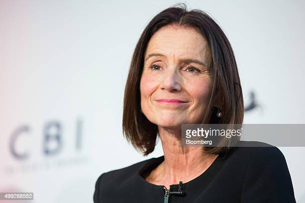 Carolyn Fairbairn director general of Confederation of British Industry pauses during a talk at the MSB Summit 2015 in the City of London UK on...