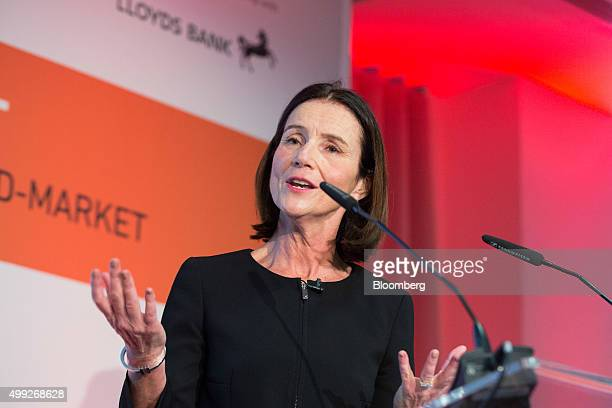 Carolyn Fairbairn director general of Confederation of British Industry gestures as she speaks at the MSB Summit 2015 in the City of London UK on...