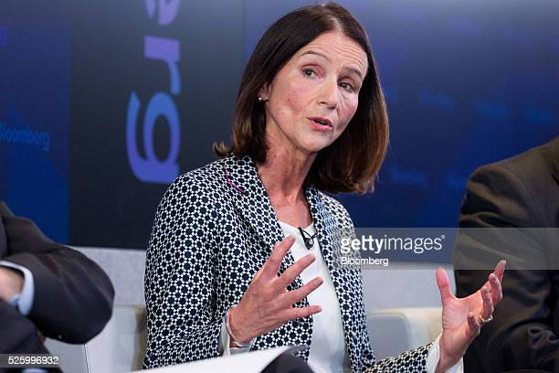 Carolyn Fairbairn director general of the Confederation of British Industry gestures whilst speaking during a debate entitled 'The Implications of...