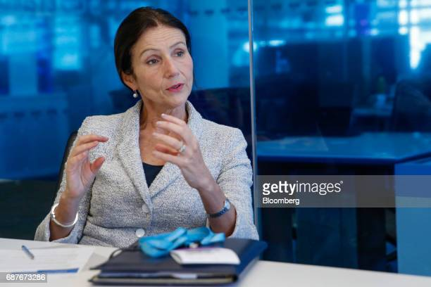 Carolyn Fairbairn director general of the Confederation of British Industry gestures while speaking during an interview in London UK on Wednesday May...