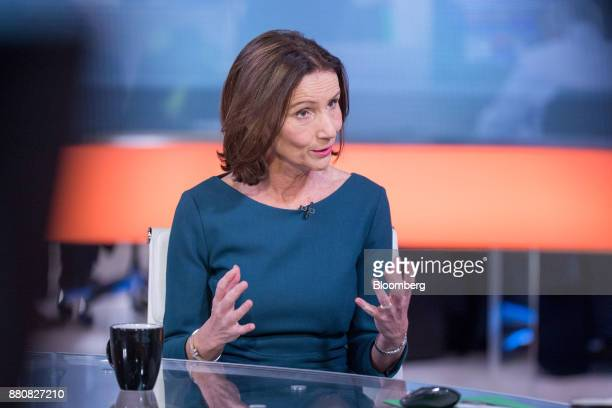 Carolyn Fairbairn director general of the Confederation of British Industry gestures while speaking during a Bloomberg Television interview in London...