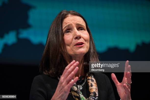 Carolyn Fairbairn director general of the Confederation of British Industry delivers a speech during the European Capital Markets at Bloomberg's...