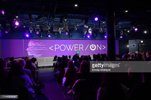 Carolyn Giardina spekas onstage during Power On Premiere By Straight Up Films With Support From YouTube at Google Playa Vista Office on April 24 2019...