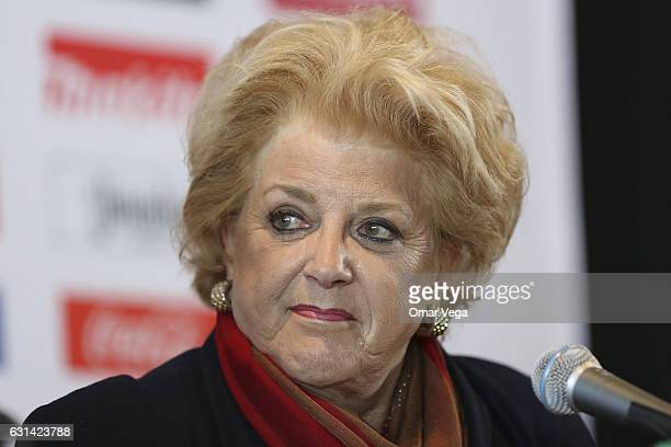 Carolyn Goodman Mayor of Las Vegas attends the press conference to announce the next Mexico's National Team American tour at the Thomas Mack Center...