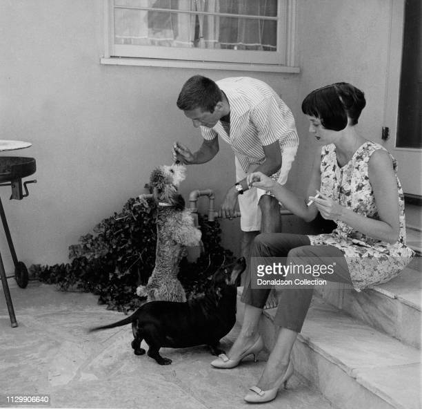 Carolyn Jones and Aaron Spelling at home with their dogs in on January 25 1957