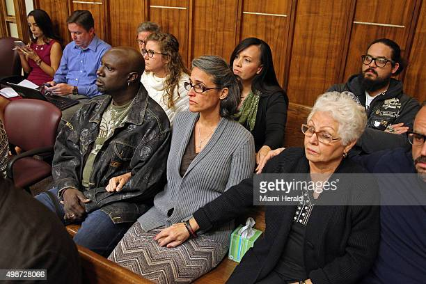Carolyn Knox mother of murder victim Jennifer Alfonso with her husband Rohan Knox left listen as the verdict is being read during the Miami Facebook...