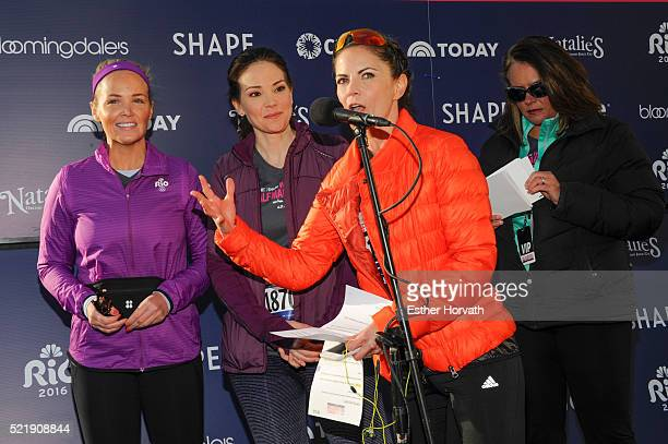 Carolyn Manno Erica Hill Natalie Morales and Elizabeth Goodman attend 13th Annual MORE/SHAPE Women's HalfMarathon at Central Park on April 17 2016 in...