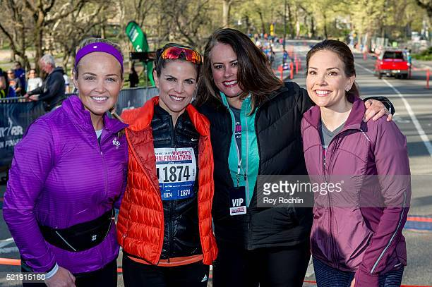 Carolyn Manno Natalie Morales Elizabeth Goodman and Erica Hill attend the 13th annual MORE/SHAPE Women's HalfMarathon at Central Park on April 17...