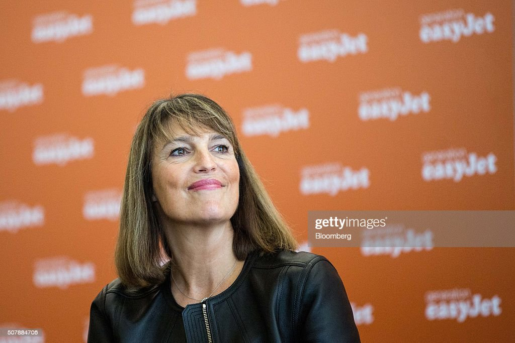 Carolyn McCall, chief executive officer of EasyJet Plc, reacts during a news conference as the company inaugurates their new base at Venice Marco Polo Airport (VCE) in Venice, Italy, on Monday, Feb. 1, 2016. Europe's second-largest low-cost airline now forecasts that expenses per seat excluding fuel will be flat to up 1 percent in the year through September, EasyJet said in a statement released in January. Photographer: Alessia Pierdomenico/Bloomberg via Getty Images