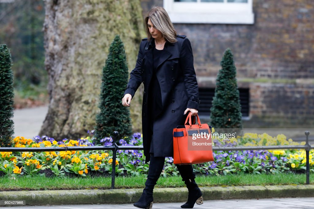 Carolyn McCall, chief executive officer of ITV Plc, arrives for a meeting of the Business Advisory Council at Downing Street in London, U.K., on Thursday, March 15, 2018. U.K. Prime Minister Theresa May is due to meet business leaders on Thursday to discuss Britain's departure from the European Union. Photographer: Luke MacGregor/Bloomberg via Getty Images