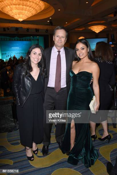 Carolyn Moneta, Michael Burns and Inanna Sarkis attend the International Medical Corps Annual Awards Celebration on November 28, 2017 in Los Angeles,...