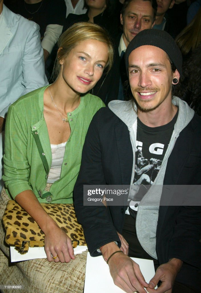 Carolyn Murphy and Brandon Boyd of Incubus during Olympus Fashion Week Fall 2004 - Marc Jacobs - Front Row and Backstage at New York State Armory in New York City, New York, United States.