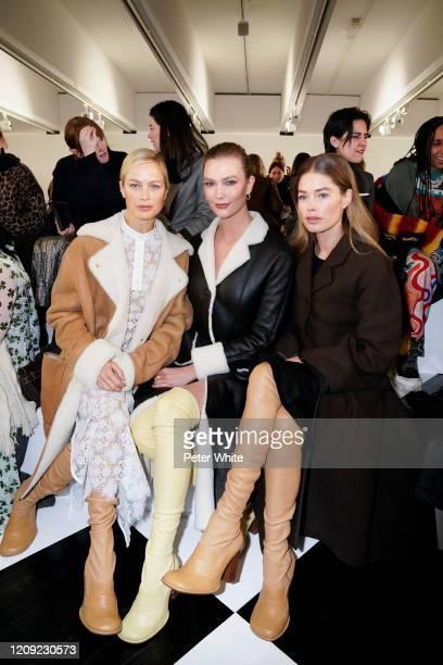 Carolyn Murphy, Karlie Kloss and Doutzen Kroes attend the Loewe show as part of the Paris Fashion Week Womenswear Fall/Winter 2020/2021 on February...