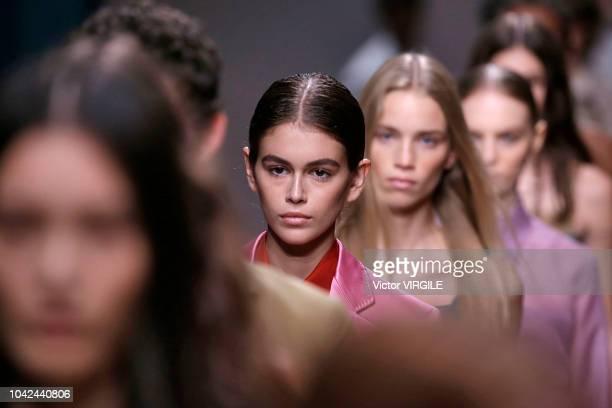 Carolyn Murphy walks the runway at the Salvatore Ferragamo show during Milan Fashion Week Spring/Summer 2019 on September 22 2018 in Milan Italy
