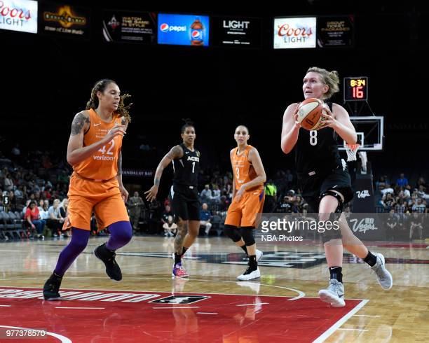 Carolyn Swords of the Las Vegas Aces goes to the basket against the Phoenix Mercury on June 17 2018 at the Mandalay Bay Events Center in Las Vegas...