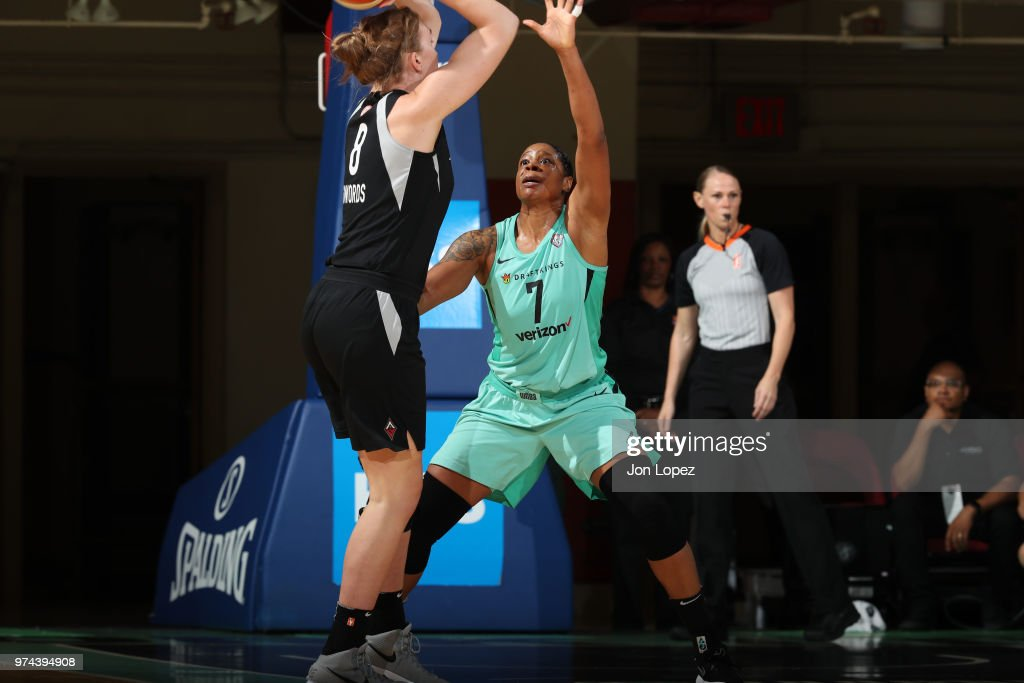 Carolyn Swords #8 of the Las Vegas Aces handles the ball against Kia Vaughn #7 of the New York Liberty during the game on June 13, 2018 at Westchester County Center in White Plains, New York.