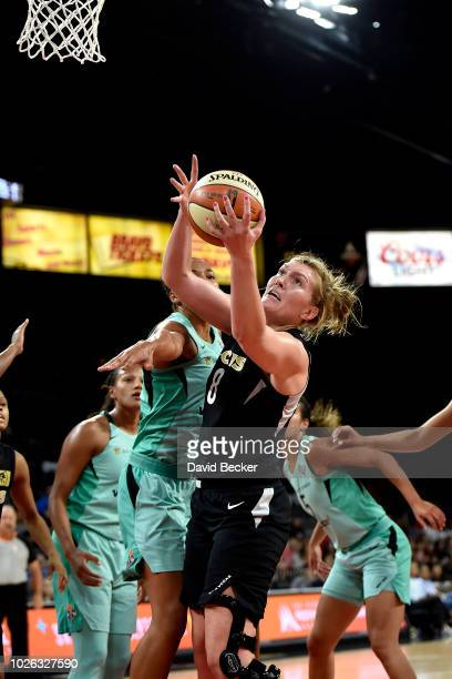 Carolyn Swords of the Las Vegas Aces shoots the ball against the New York Liberty on August 15 2018 at the Allstate Arena in Chicago Illinois NOTE TO...