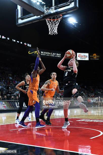 Carolyn Swords of the Las Vegas Aces shoots the ball against the Phoenix Mercury on June 17 2018 at the Mandalay Bay Events Center in Las Vegas...