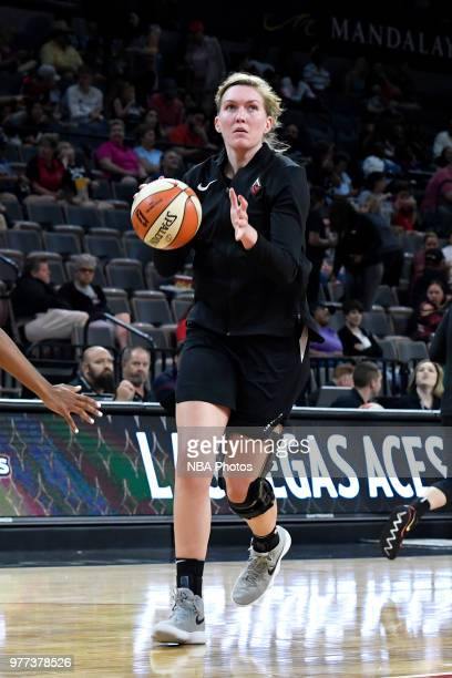 Carolyn Swords of the Las Vegas Aces warms up on June 17 2018 at the Mandalay Bay Events Center in Las Vegas Nevada NOTE TO USER User expressly...