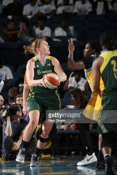 Carolyn Swords of the Seattle Storm handles the ball against the Chicago Sky on September 3 2017 at Allstate Arena in Rosemont IL NOTE TO USER User...