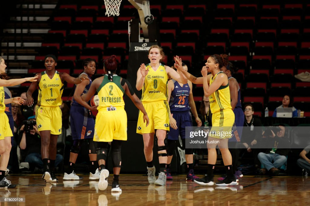 Carolyn Swords #8 of the Seattle Storm reacts to a play during a game against the Phoenix Mercury on May 3, 2017 at Key Arena in Seattle, Washington.