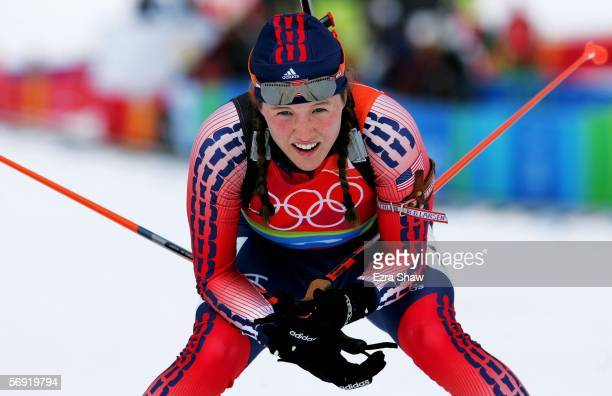 Carolyn Treacy of the United States of America at the end of the Womens Biathlon 4x6km Relay Final on Day 13 of the 2006 Turin Winter Olympic Games...