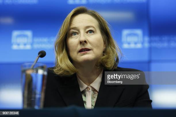 Carolyn Wilkins senior deputy governor at the Bank of Canada speaks during a press conference in Ottawa Ontario Canada on Wednesday Jan 17 2018 The...