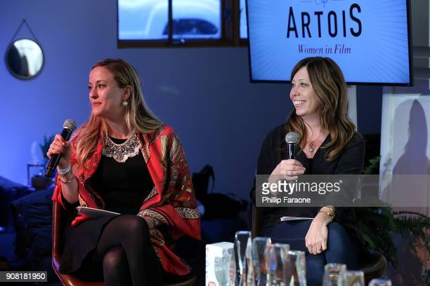 Carolyn Zwiener and Kirsten Schaffer participates during the Stella Artois and Women In Film for a live round table discussion celebrating the power...