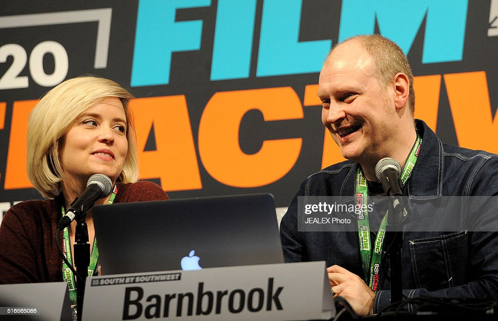 Carolynn Cecilia and Jonathan Barnbrook speak onstage at 'David Bowie Visual Collaborators' during the 2016 SXSW Music, Film + Interactive Festival at Austin Convention Center on March 19, 2016 in Austin, Texas.