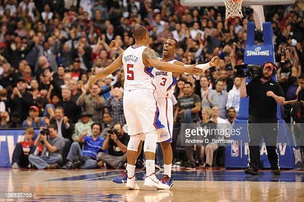Caron Butler and Chris Paul of the Los Angeles Clippers bump chests during their game against the Miami Heat at Staples Center on January 11 2012 in...