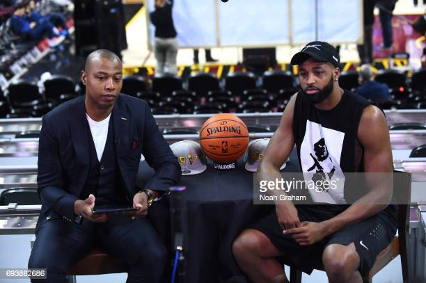 Caron Butler moderates a Facebook Live chat with Tristan Thompson of the Cleveland Cavaliers during practice and media availability as part of the...
