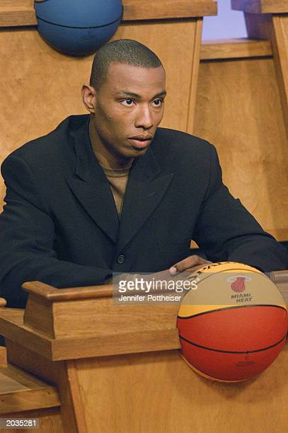 Caron Butler of the Atlanta Hawks attends the 2003 NBA Draft Lottery on May 22 2003 in Secaucus New Jersey NOTE TO USER User expressly acknowledges...
