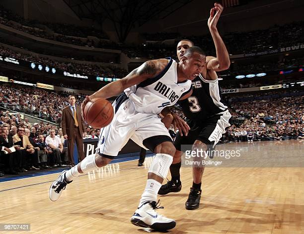 Caron Butler of the Dallas Mavericks drives to the basket against George Hill of the San Antonio Spurs in Game One of the Western Conference...