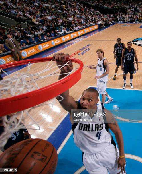Caron Butler of the Dallas Mavericks dunks against the Memphis Grizzlies during a game at the American Airlines Center on April 7 2010 in Dallas...