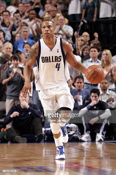 Caron Butler of the Dallas Mavericks moves the ball up court against the San Antonio Spurs in Game Two of the Western Conference Quarterfinals during...