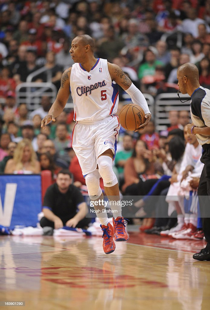 Caron Butler #5 of the Los Angeles Clippers drives during the game between the Los Angeles Clippers and the New York Knicks at Staples Center on March 17, 2013 in Los Angeles, California.